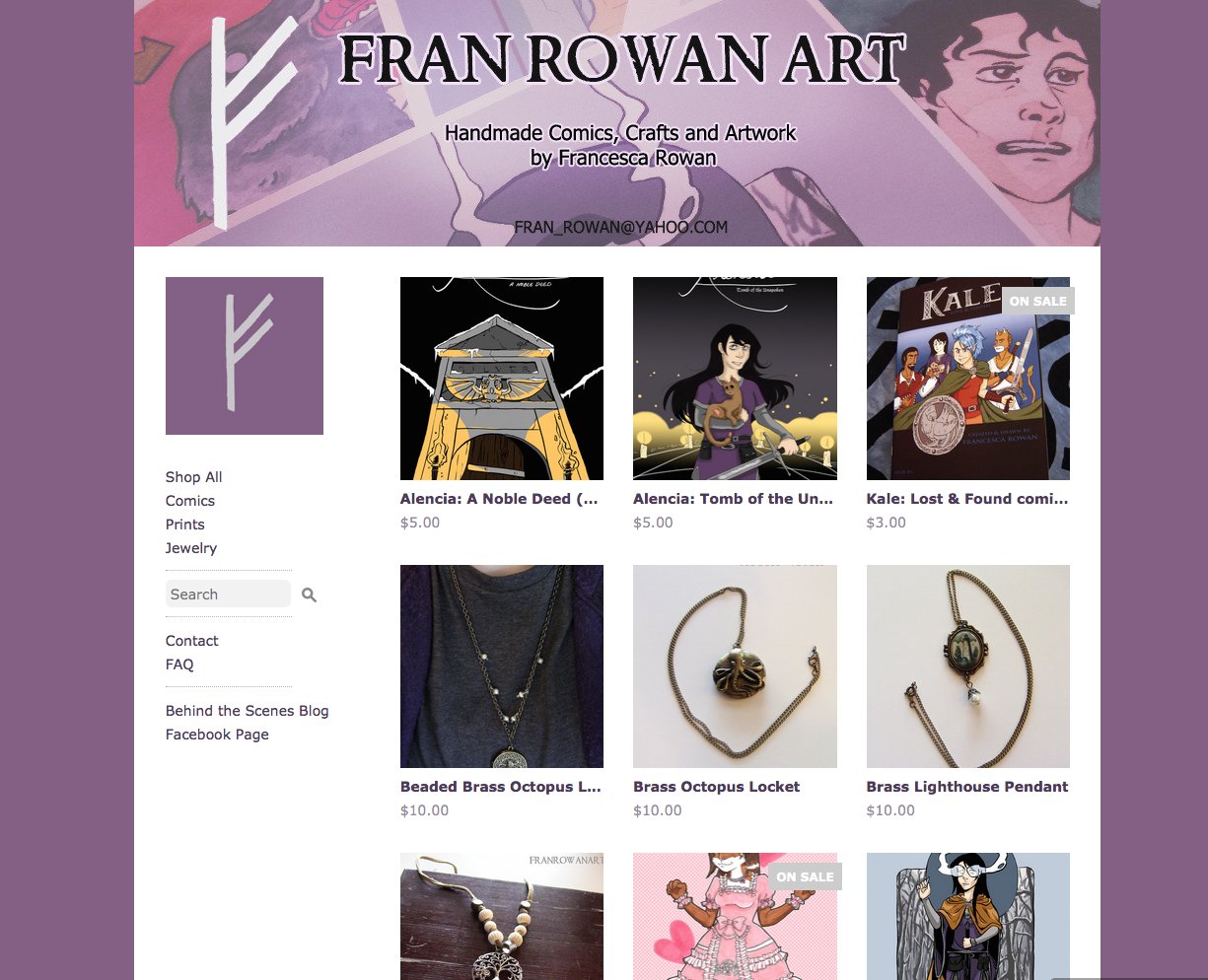 My new store! Featuring an Alencia inspired color scheme.