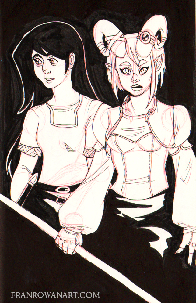 Rough ink drawing of Alencia and a still unnamed friend. She'll be involved in a whole story arc, I'm very much looking forward to it.