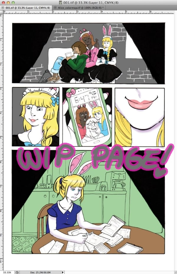 "WIP shot of page 1 of ""Unintentionally Alice."""