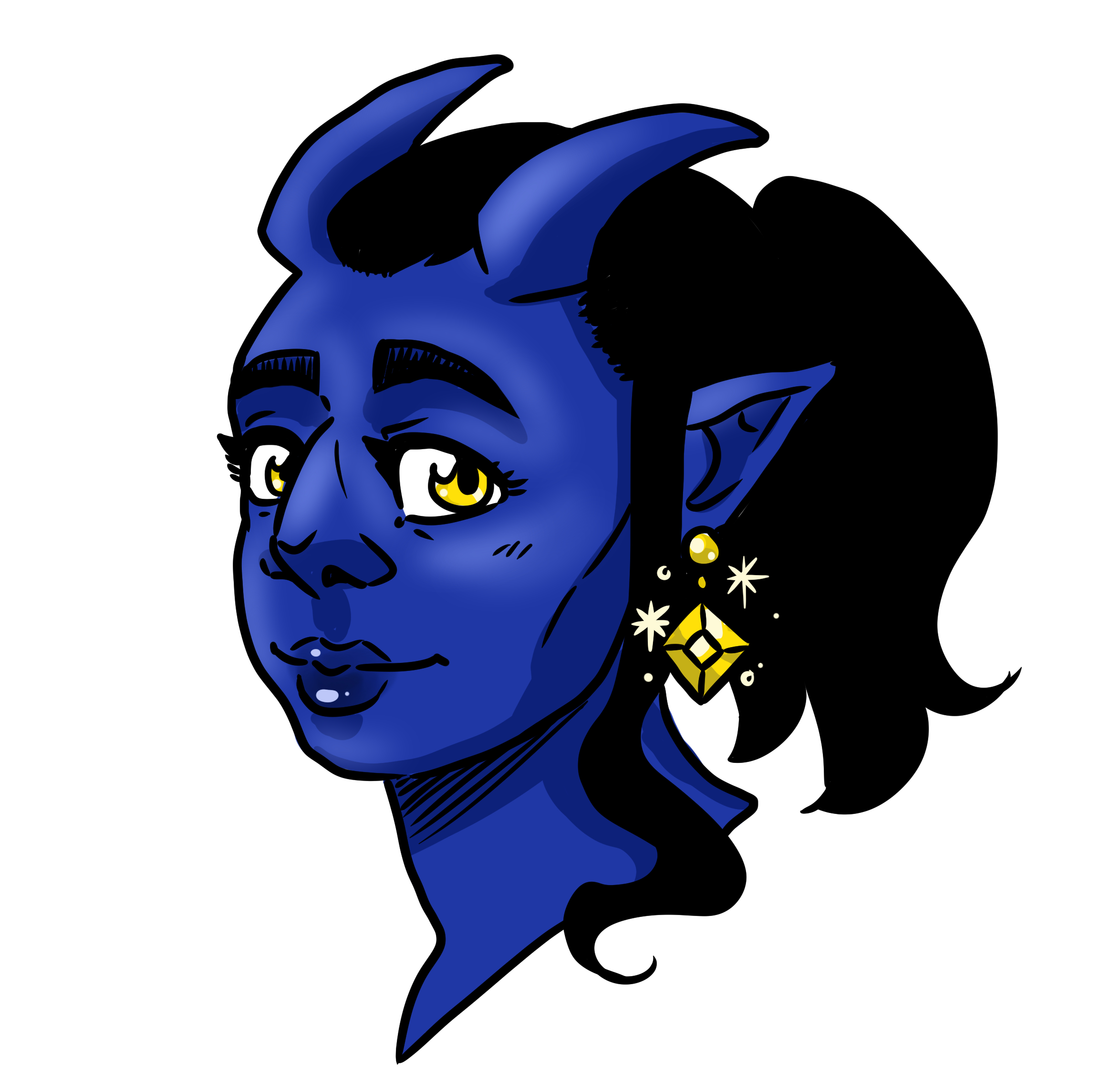 A Teifling wearing a dazzling pair of magical jeweled earrings. What affect do they have?