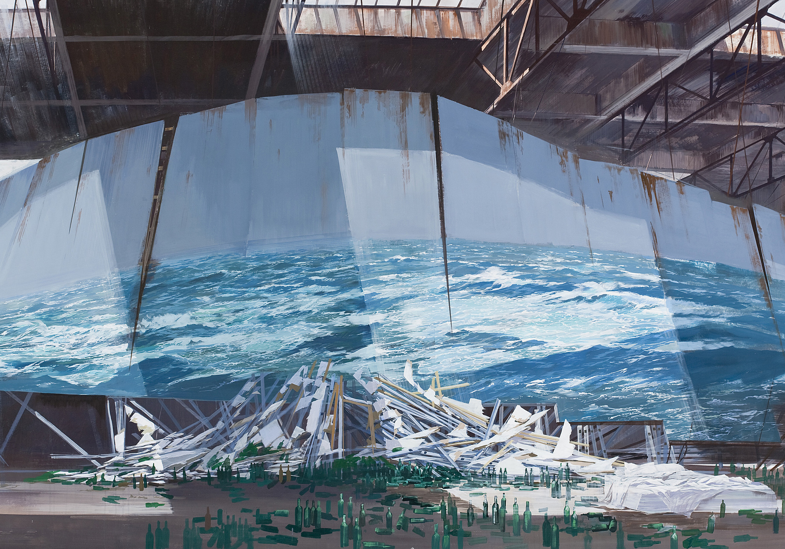 Adam Cvijanovic,  All the Wine I Ever Drank I Drank at Sea , 2010,acrylic on Tyvek [on panel],48 x 96 inches, Courtesy of Art Pension Trust and Postmasters Gallery, New York, image courtesy of the artist and Postmasters Gallery, New York