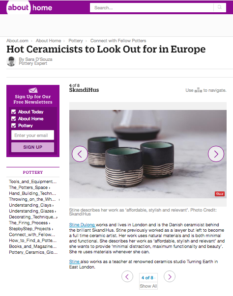 "About.Com - SkandiHus founder, Stine Dulong, listed in About.com's ""Hot Ceramicists to Look out for in Europe"""
