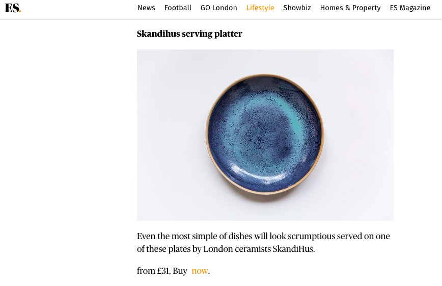 EVENING STANDARD - SkandiHus wares featured in