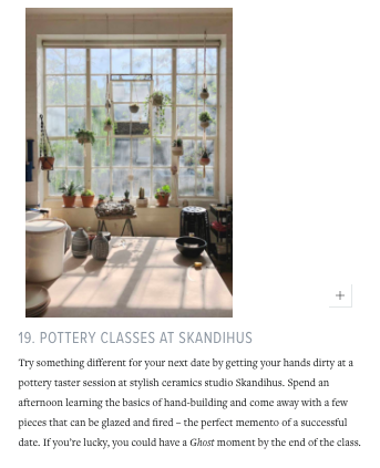 "Conde Nast Traveler - SkandiHus listed in ""23 Date Ideas in London"" - Feb 2019"
