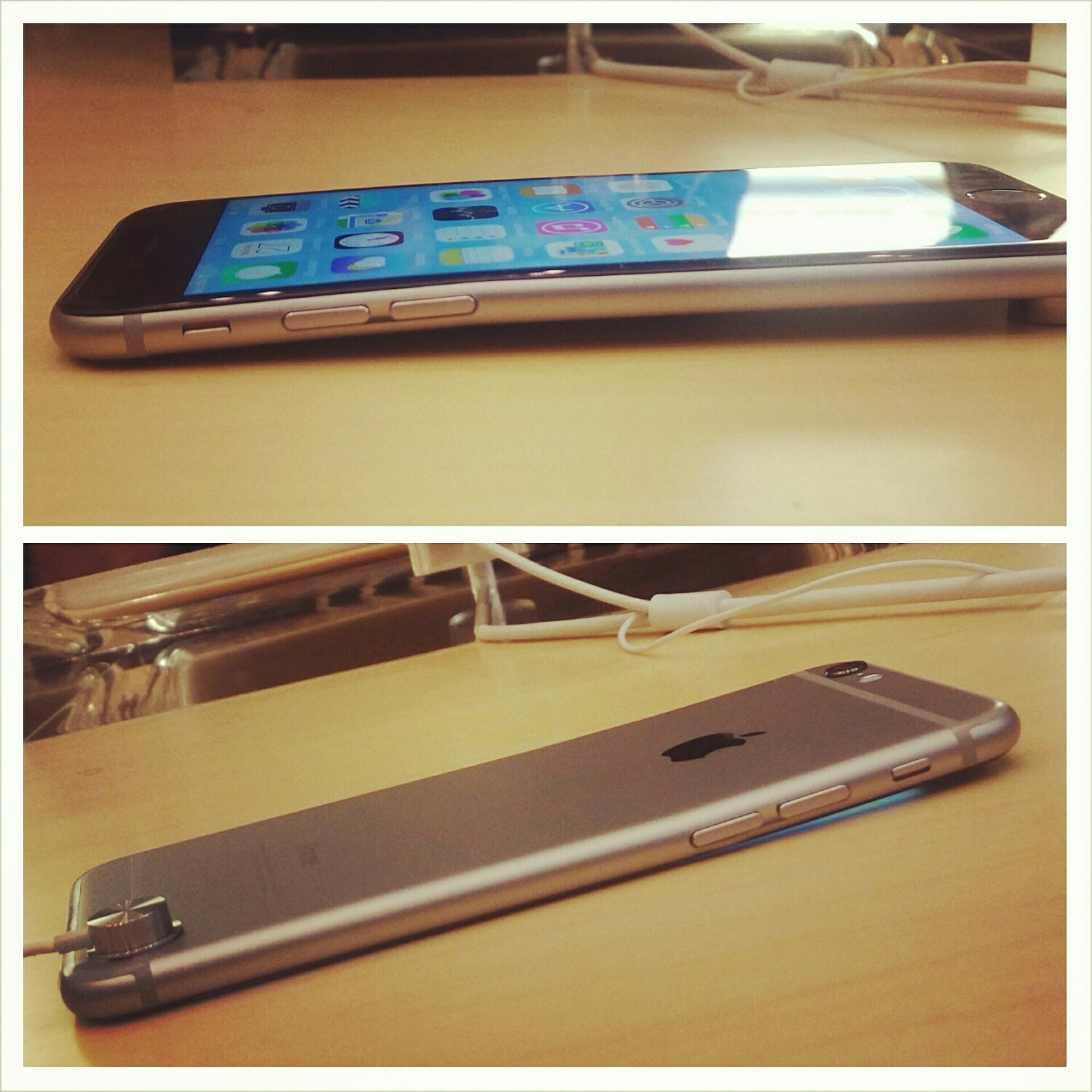 A Google+ reported seeing this iPhone 6 bent inside of an Apple Store   .