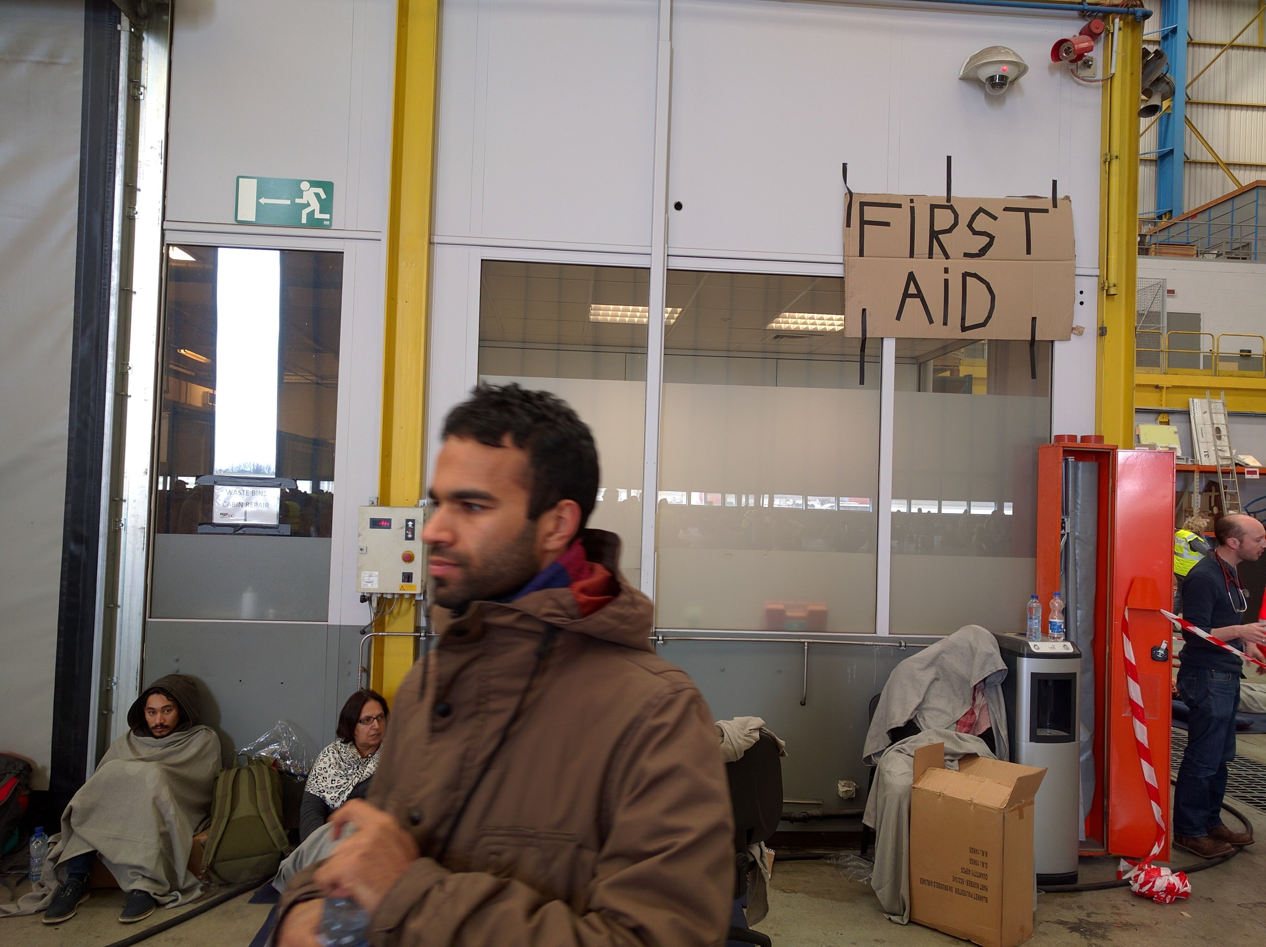 The makeshift First-Aid room. Supplies and space was limited, so not everyone could be looked after.