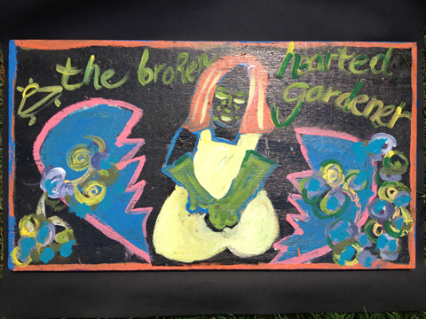 The Broken Hearted Gardener / April, 2012 / 14 x 24 Acrylic Painting on Wood by Gretchen Seichrist