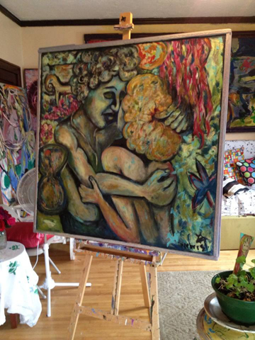 Stormy Weather at Even Break Gallery / Painting and Photo by Gretchen Seichrist