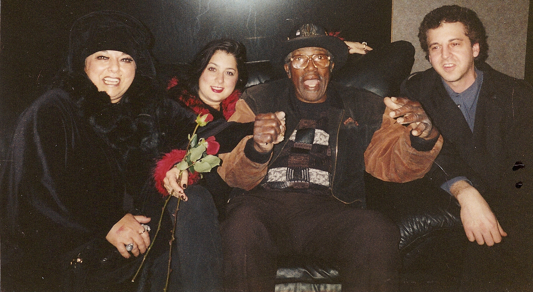 Marilyn Percansky, Romy Percansky, Bo Diddley, Magic Marc Backstage at The Rock Nightclub / Maplewood, Minnesota / November 16, 2002