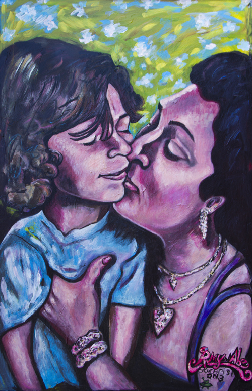 Romy and Abe / February 14th, 2013 / 33 x 49 Acrylic Painting on Wood by Gretchen Seichrist