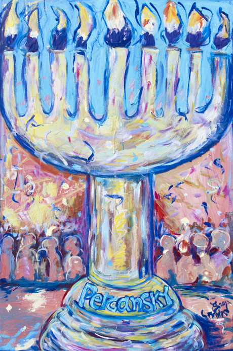 The Percansky Hanukkah Menorah / December 14th, 2012 / 33 x 49 Acrylic Painting on Wood by Gretchen Seichrist