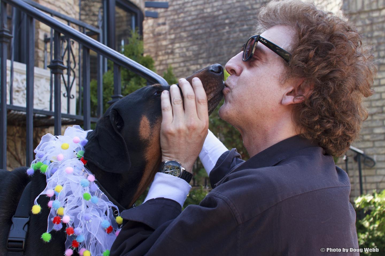 Ruby gets a smooch  Ruby and Magic Marc / LuLu & Luigi / St. Louis Park, Minnesota / April 27th, 2013