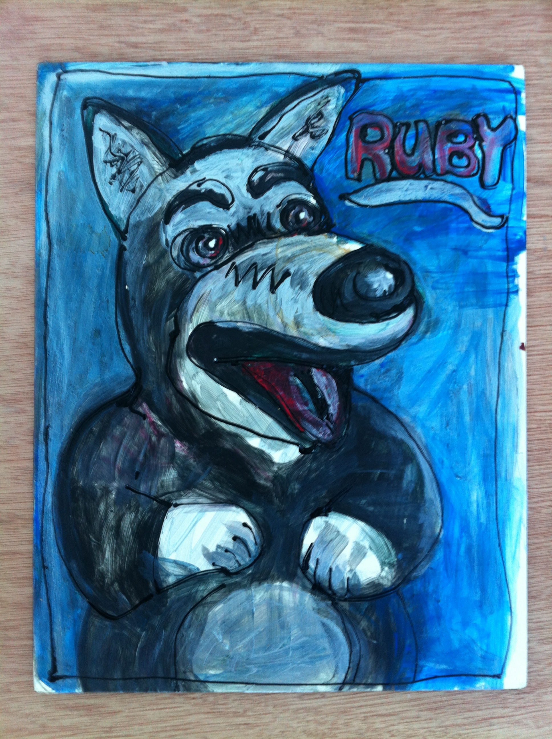 RUBY/ November 12th, 2013 / 11 x 14Paintingon Claybord by Gretchen Seichrist