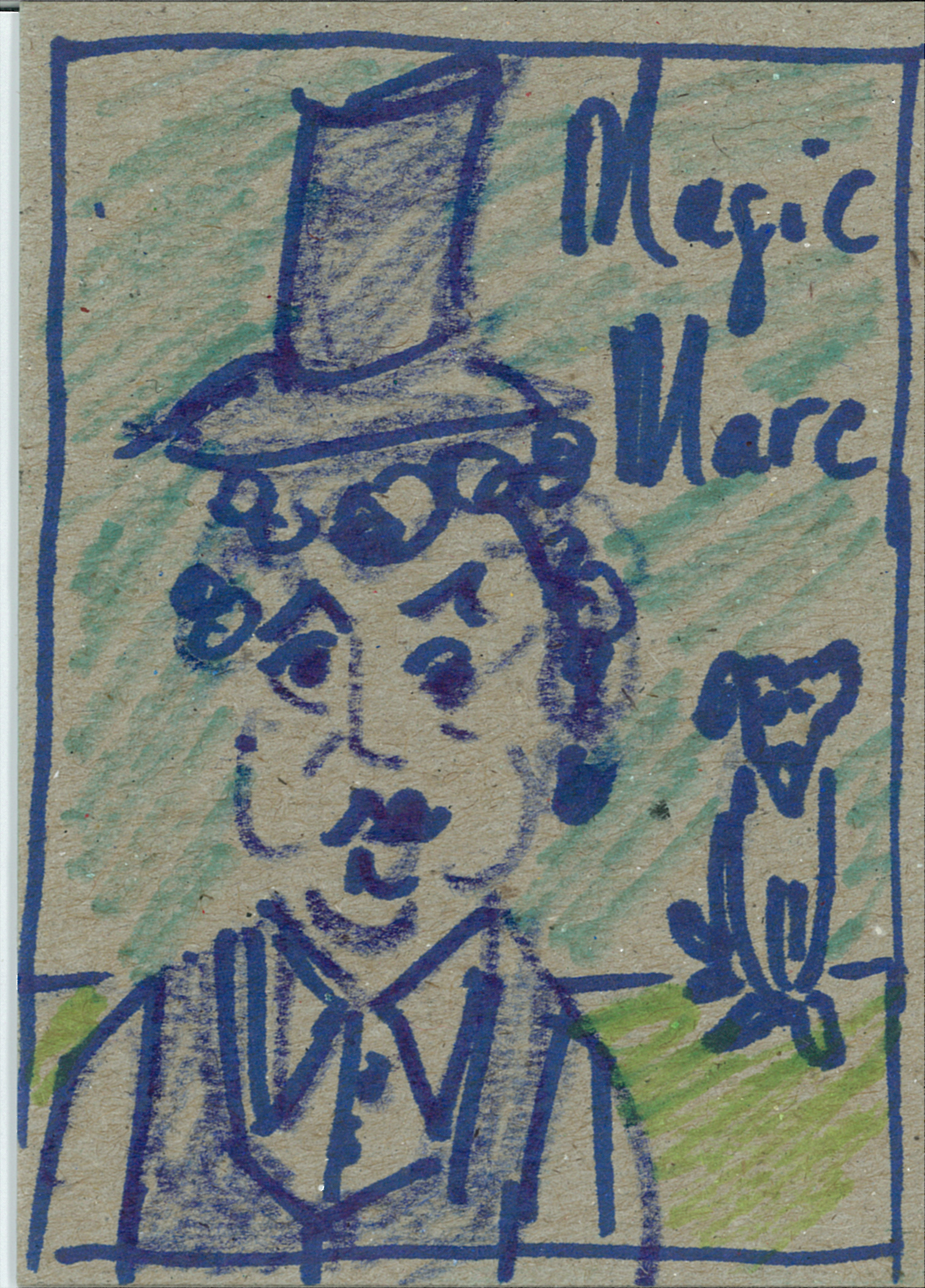 Magic Marc / February 18th, 2014 / 3 x 4 Marker Drawing on Cardboard by Gretchen Seichrist