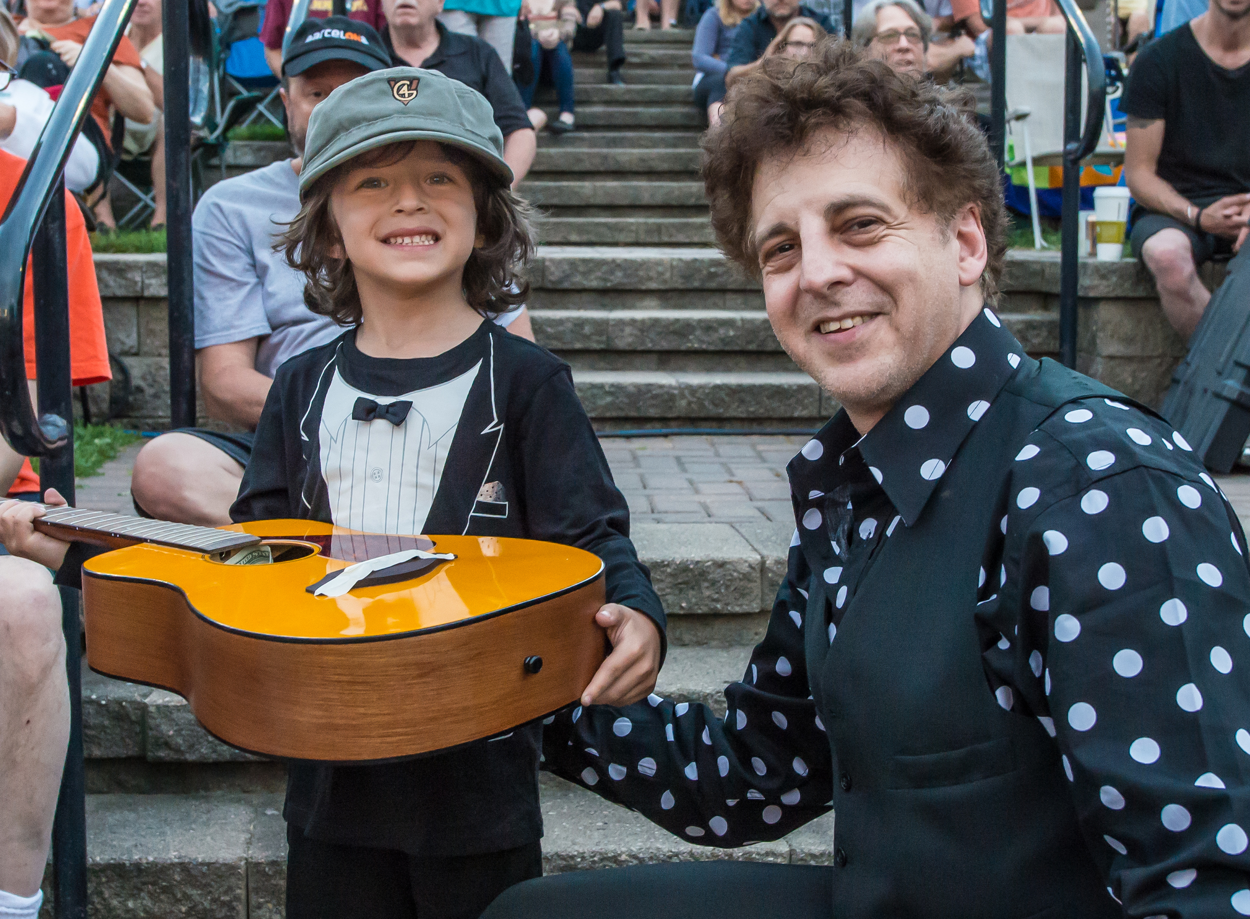 Abe Percansky-Segal and Magic Marc / Salute to the Music of Bob Dylan / The Veterans' Memorial Wolfe Park Amphitheater / St. Louis Park, Minnesota / August 9th, 2014 / Photo by Don Olson