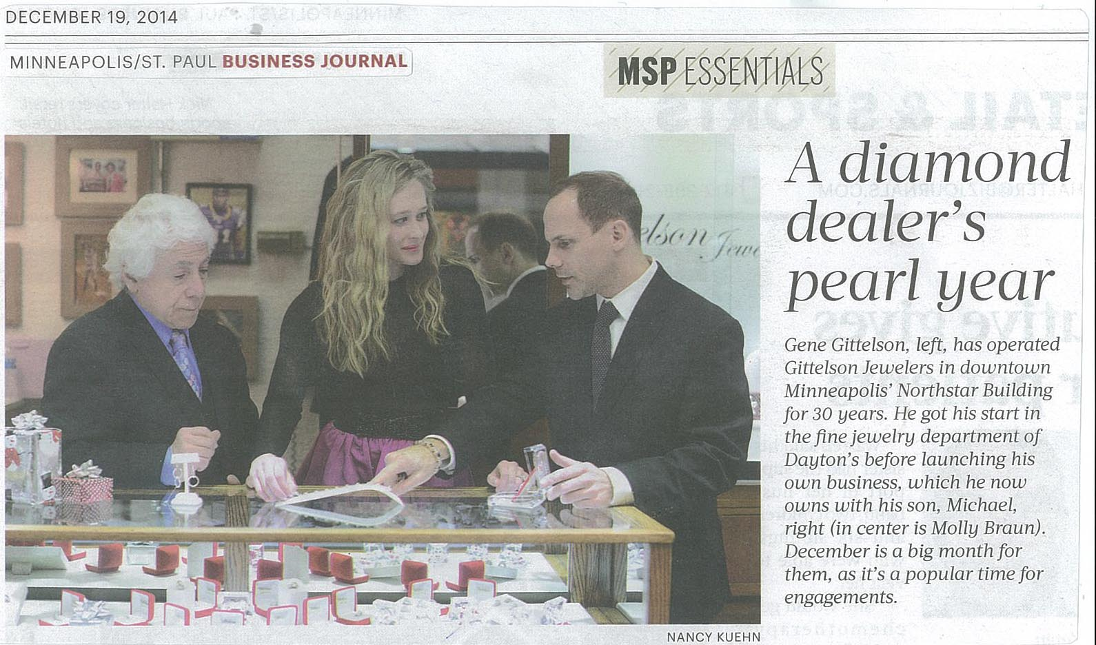 Gittelson Jewelers ( http://gittelsonjewelers.com/ ) - Gene Gittelson, Molly Braun and Michael Gittelson / MINNEAPOLIS/ST. PAUL BUSINESS JOURNAL / DECEMBER 19, 2014 / Photo by NANCY KUEHN