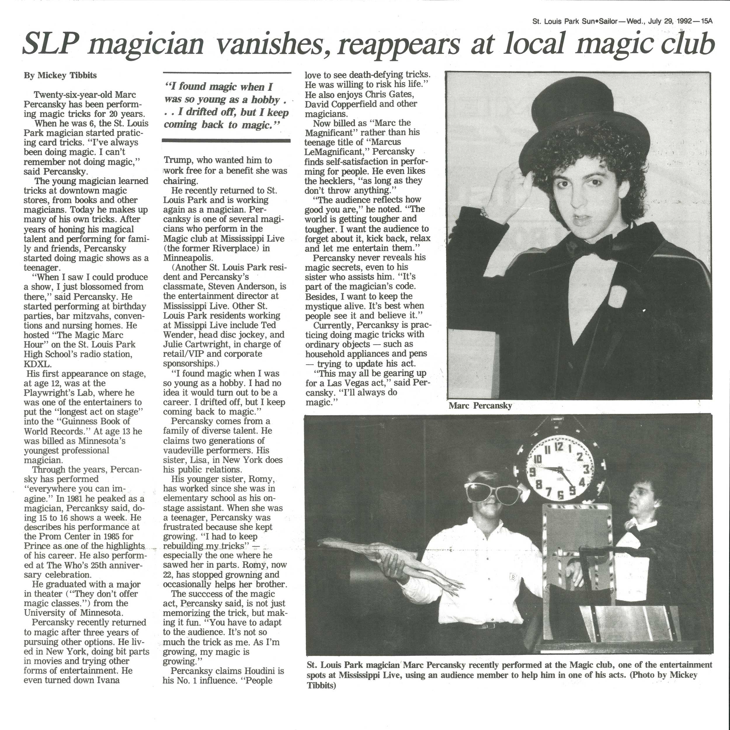Marc The Magnificent / St. Louis Park Sun/Sailor - Wed., July 29, 1992 - 15A / By Mickey Tibbits
