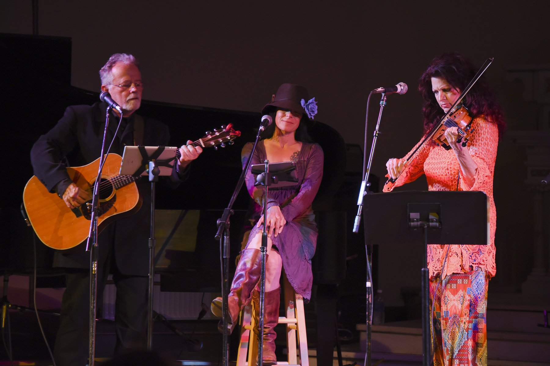 Gene LaFond, Amy Grillo and Scarlet Rivera / Sacred Heart Music Center / Duluth, Minnesota / May 23rd, 2015 / Photo by Michael K. Anderson