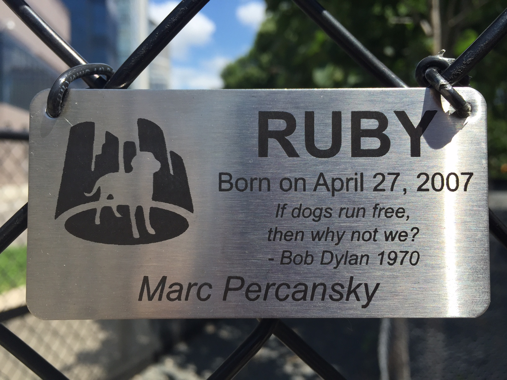 RUBY'S Dog Silhouette Stainless Steel Plaque / Gateway Dog Park / Minneapolis, Minnesota / July 22nd, 2015