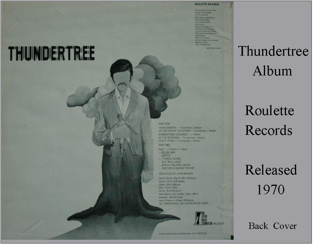 Thundertree - Original Roulette Records Album Back Cover (1970)