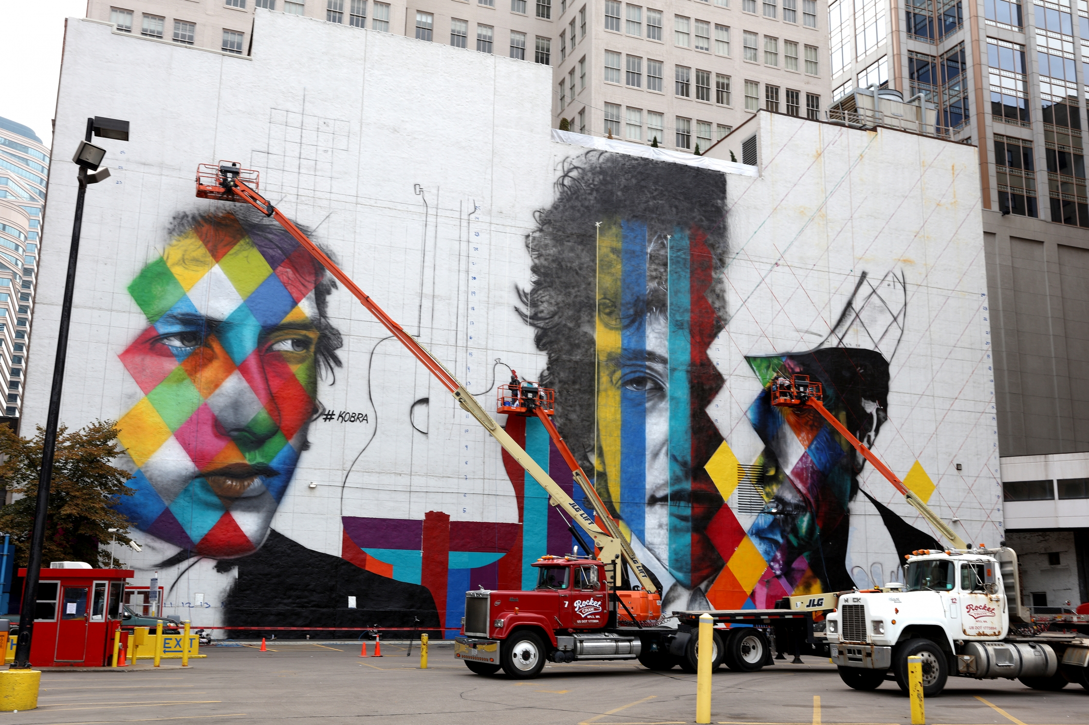 The blank white wall facing the corner of 5th and Hennipen Ave shot Saturday August 29, 2015. The 'canvas' for a mural by Brazillian artist Kobra- with multiple images of Bob Dylan.