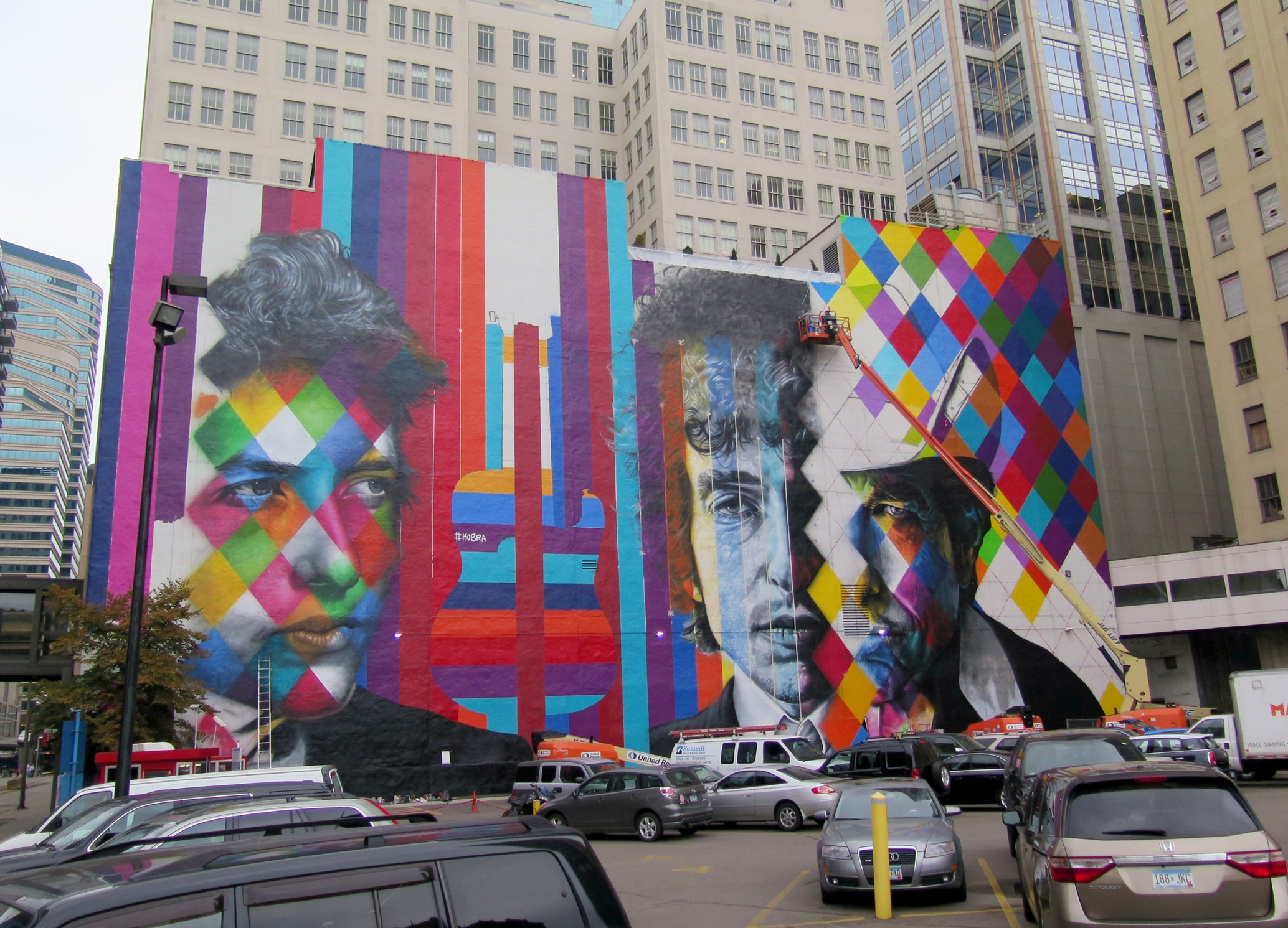 The blank white wall facing the corner of 5th and Hennipen Av has become the 'canvas' for a mural by Brazillian artist Kobra- with multiple images of Bob Dylan. Photo taken Wednesday 09/02.