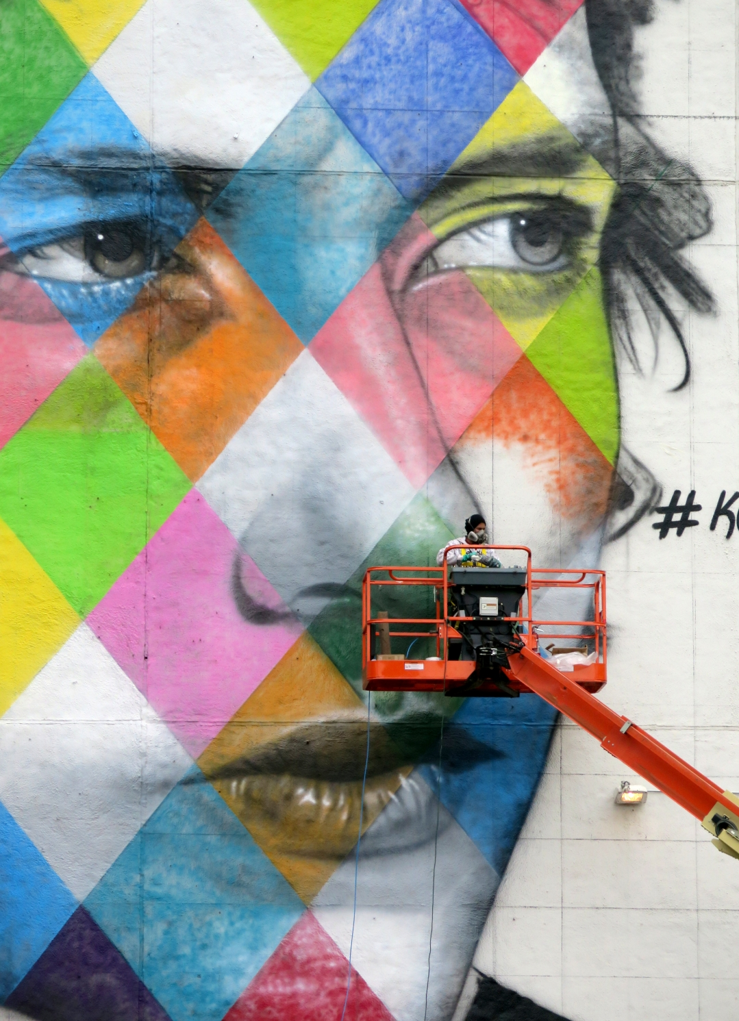 The 'canvas' for a mural by Brazillian artist Kobra- with multiple images of Bob Dylan.