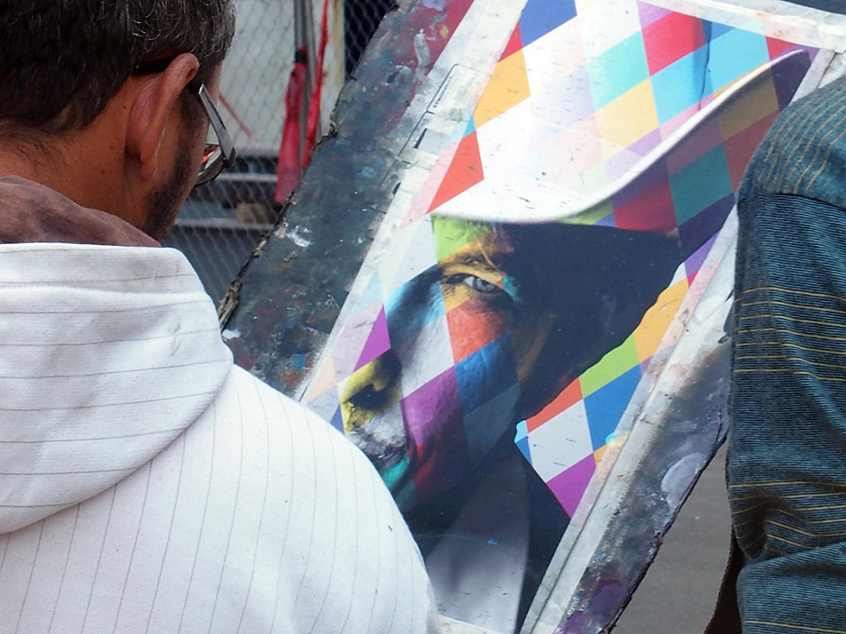 Marcos Rafael de Silva and Eduardo Kobra looked over the plan for the mural on August 30, 2015.