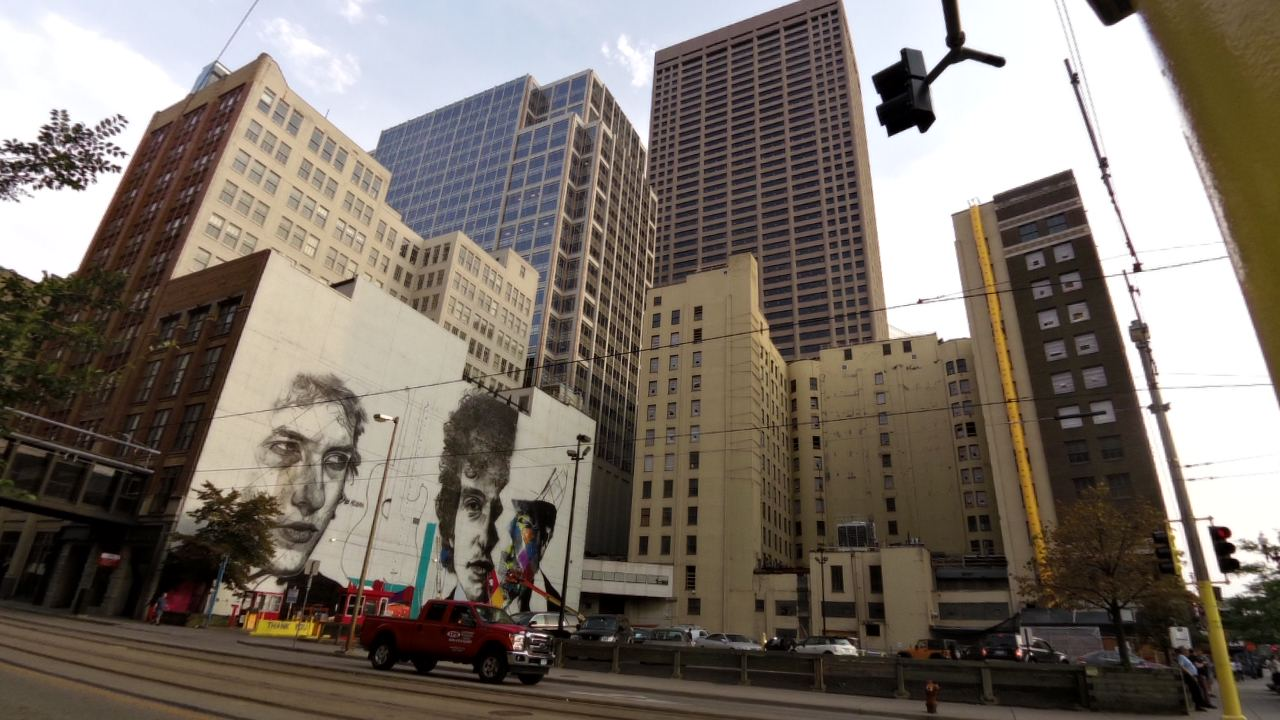 Bob Dylan Mural by Eduardo Kobra / The 15 Building / 15 South 5th Street at Hennepin Avenue / Minneapolis, Minnesota / August 27th, 2015 / Photo by Michael Johnson