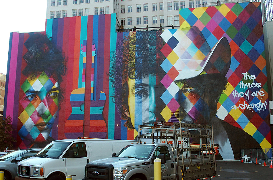 The finished mural of Bob Dylan, Sept. 8, 2015.