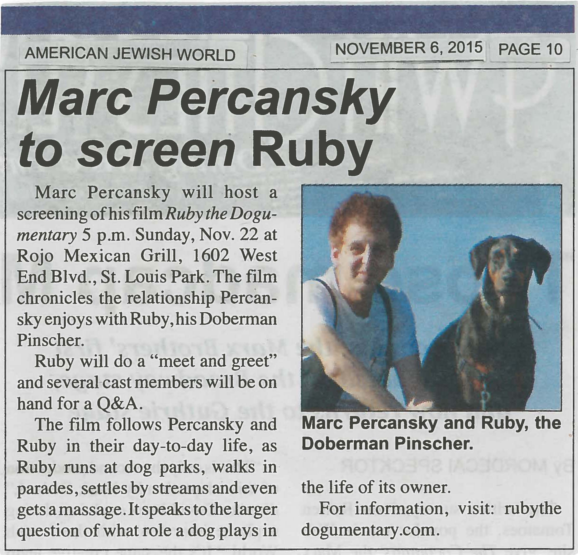 Marc Percansky to screen Ruby /  AMERICAN JEWISH WORLD  / NOVEMBER 6, 2015 / PAGE 10