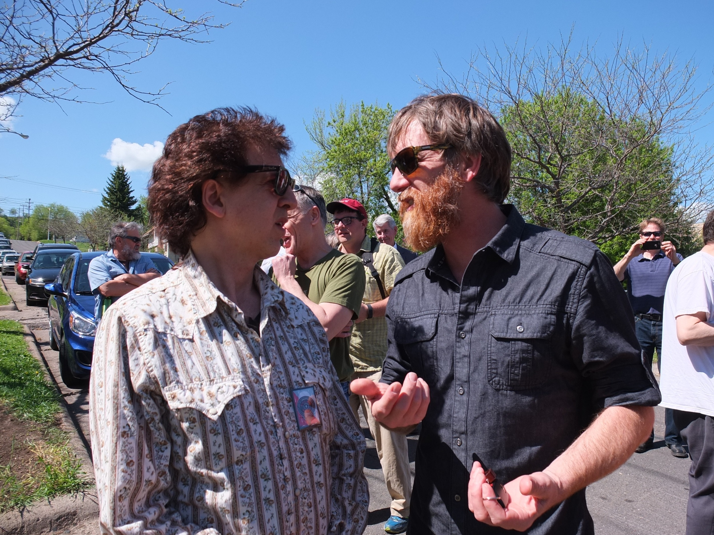 Bob Dylan's First Home Marker Unveiling Ceremony / Magic Marc and Brad Nelson / 519 North 3rd Avenue East / Duluth, Minnesota / May 24th, 2016 / Photo by Kathleen