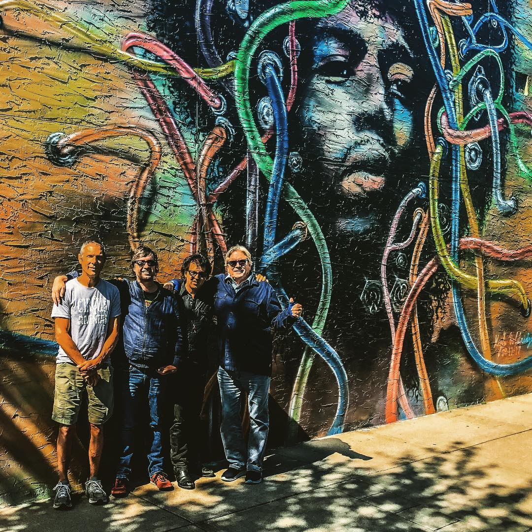 Gary Lopac, Bill DeVille, Magic Marc and Kevin Odegard with  Jimi Hendrix  - Corner Store Vintage / Bryant Avenue South & 900 Lake Street West / Minneapolis, MN / September 6th, 2018 / Mural by  Kyle Holdridge  September 11, 2017
