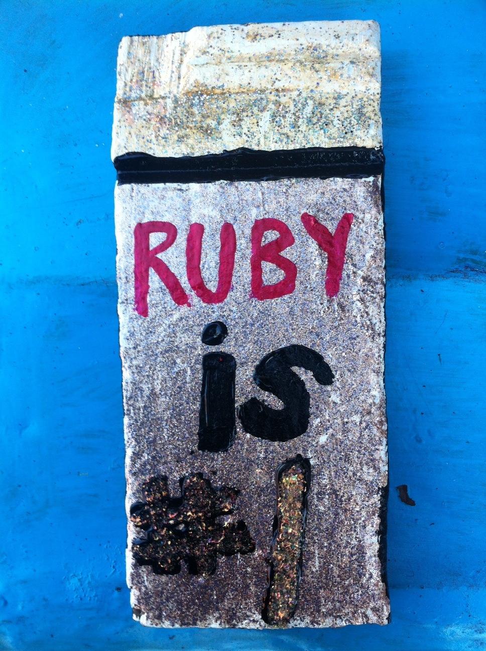RUBY is #1 / December 16th, 2018 / 5 x 11 Acrylic Painting on Wood by Melanie Ree
