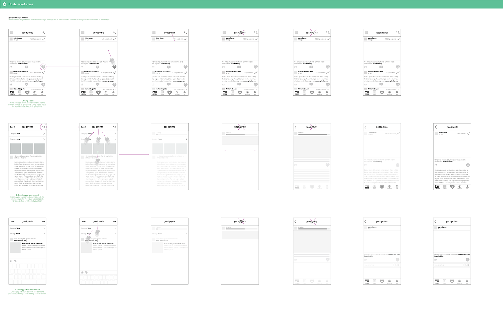 Early UX / Product Design wireframes. We had just pivoted to trending content from donations and this was my purposed design.