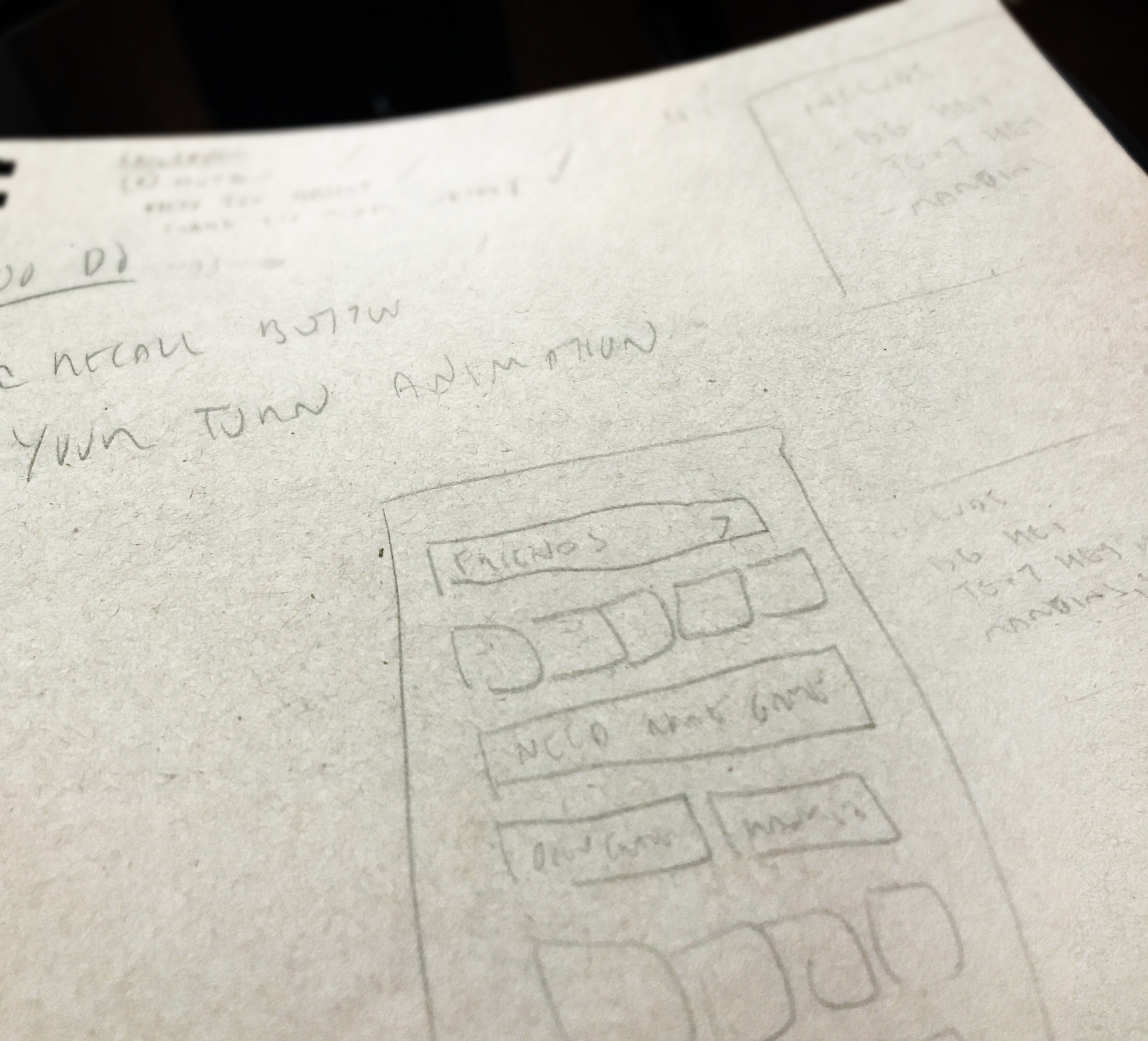 An early sketch of the create game / friends screen. You can see an evolution of this sketch in the wireframes below.