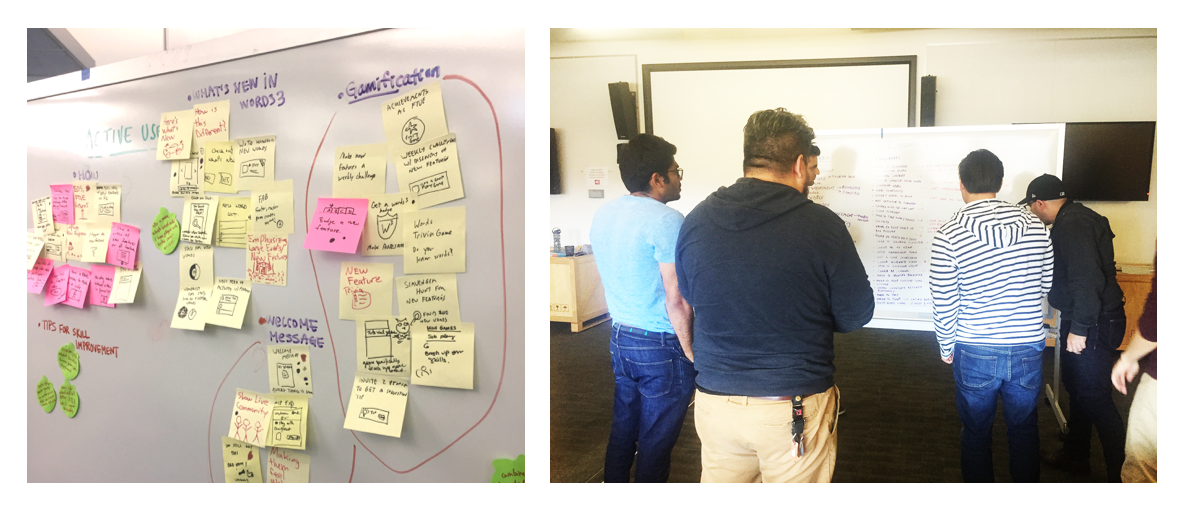 Results of a Co-Design Challenge (left) and a cross discipline team coming up with the Design criteria and challenge statements (right)