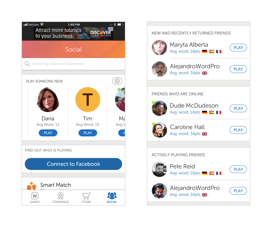 Words With Friends Social Screen for a new user (left) with some modules that can be added for users with more friends on the right.