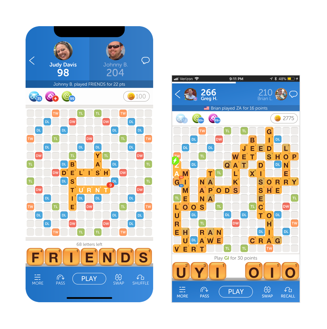 Gameboard screen for iPhone X and iPhone 8 Plus. The content remains the same but the layout adjust to fill the extra space.