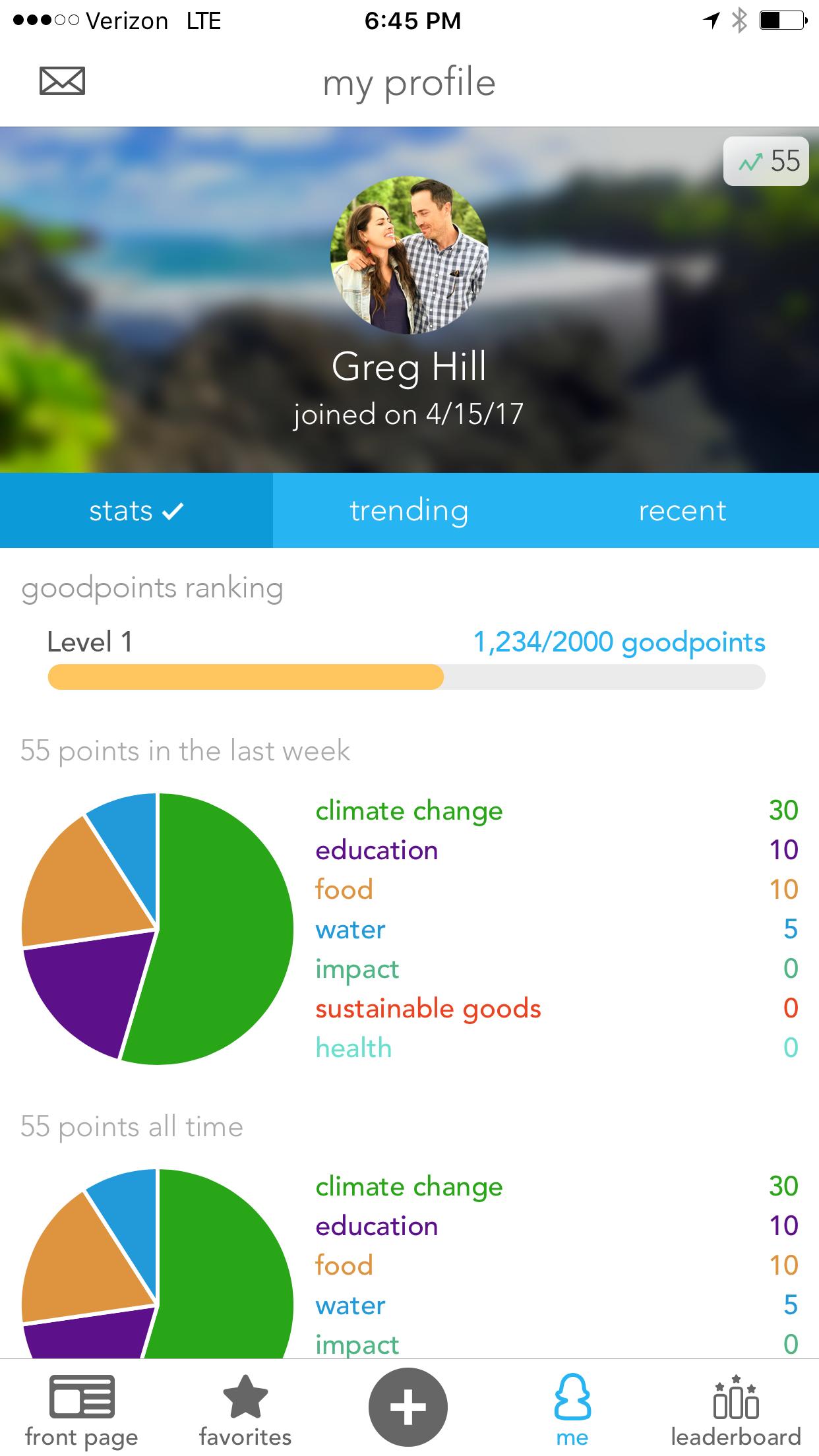 A screenshot of the final Profile screen