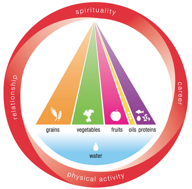 Integrative Nutrition Pyramid:   The Integrative Nutrition food pyramid includes a balance of high quality vegetables, fruits, grains, proteins, healthy fats and water. To complete the picture, the pyramid is surrounded with lifestyle factors that create optimal health: relationship, career, physical activity and spirituality. I'll introduce you to some of the healthiest foods on the planet and teach you how to find what's healthiest for your unique body!