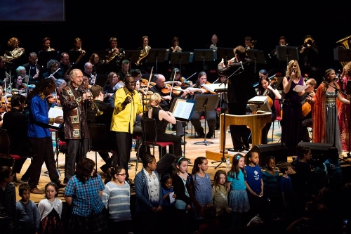 Ganda Boys at Fairifeld Halls, Croydon, London, April 25th, with the Royal Philharmonic Orchestra.