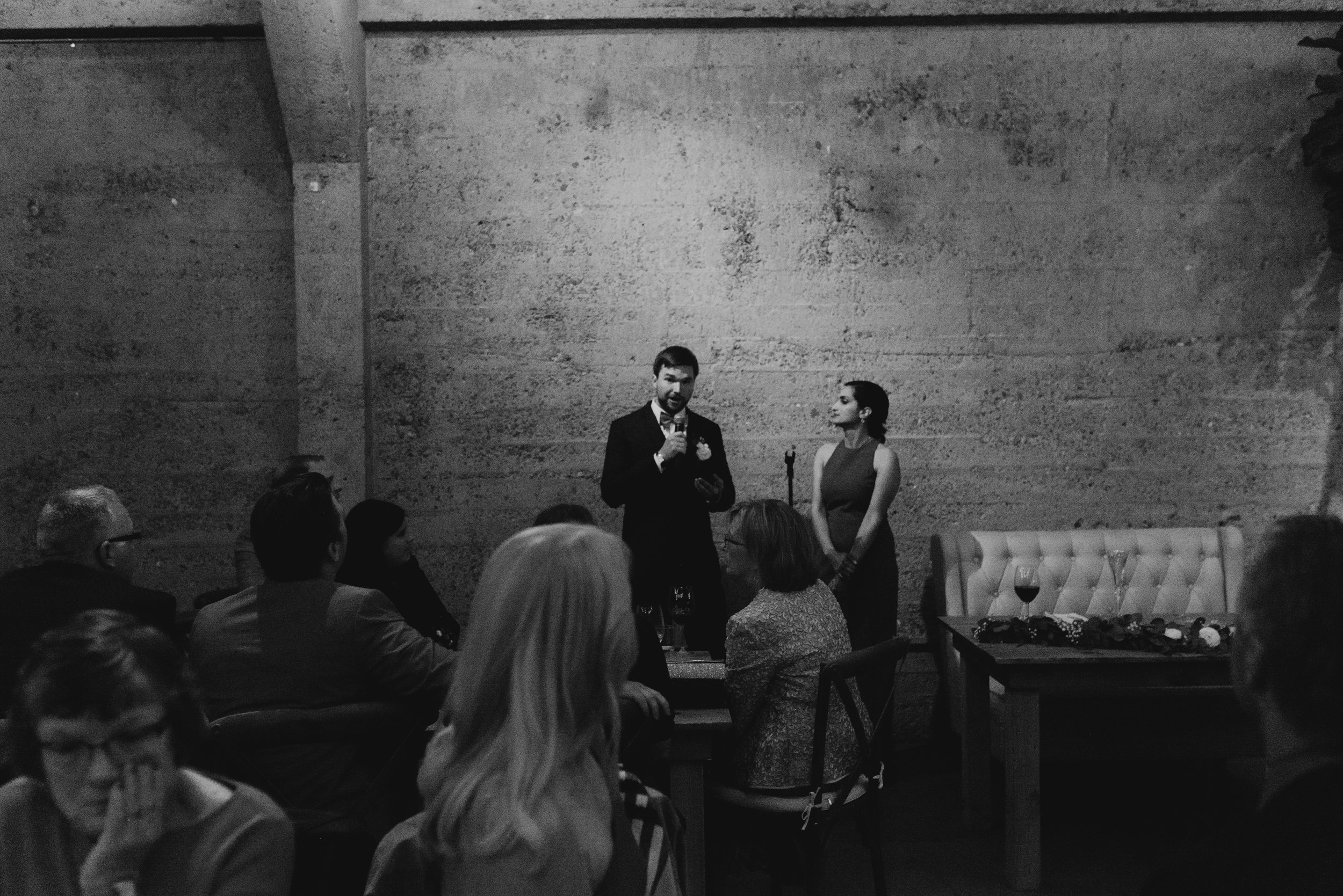 bride and groom at their reception at tank 18 in san francisco
