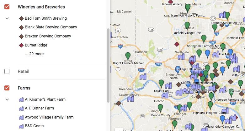 View Google Map of Cincinnati Region Local Food
