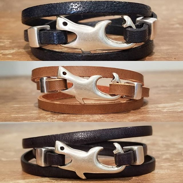 Navy blue, brown and black leather triple wrap bracelets with shark clasp...awesome trio!