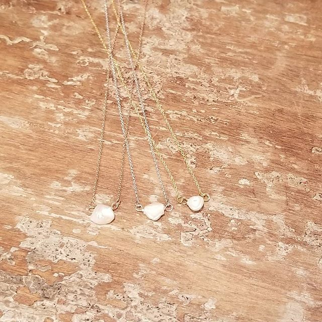 These tiny Keshi Pearl necklaces are so dainty and sweet! Available in rose gold, silver and yellow gold, $25.  These make great stocking stuffers. And how cute is the tiny little rose gold fish hook?!?