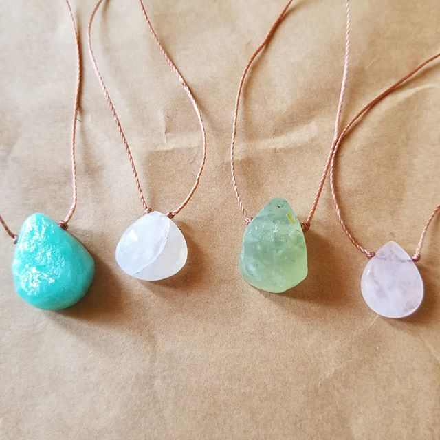 Loving these simple stone necklaces. So pretty and natural! Left to right:Amazonite, Moonstone, Prehnite and Rose Quartz. And all of them have such wonderful healing properties.