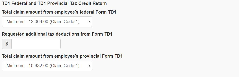CRA Payroll Calculator TD1 Forms