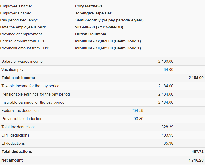 CRA Payroll Calculation