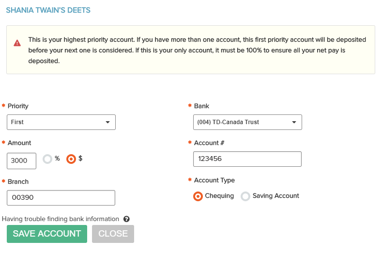 Wagepoint Direct Deposit Bank Details